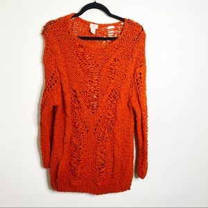 H&M Red Knotted Sweater Tunic